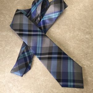 Ben Sherman blue plaid silk tie